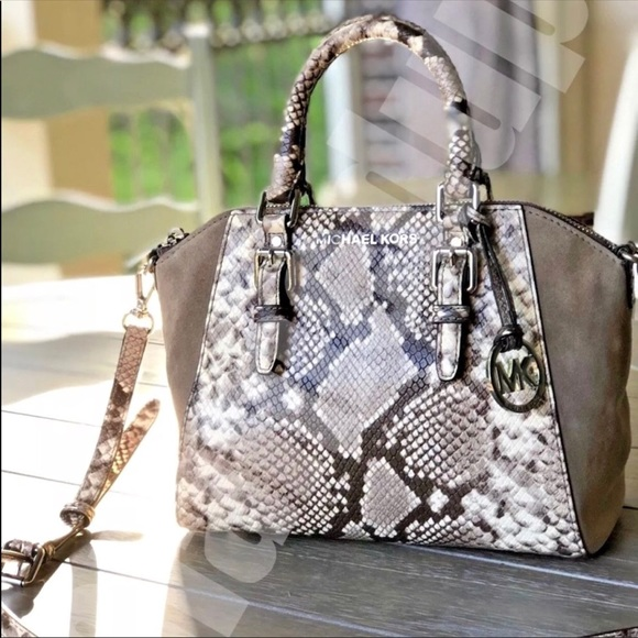 223826f3875d MICHAEL Michael Kors Bags | Michael Kors Medium Ciara Python Print ...
